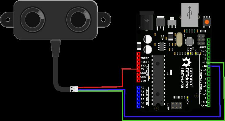 Arduino与超声波传感器连接图
