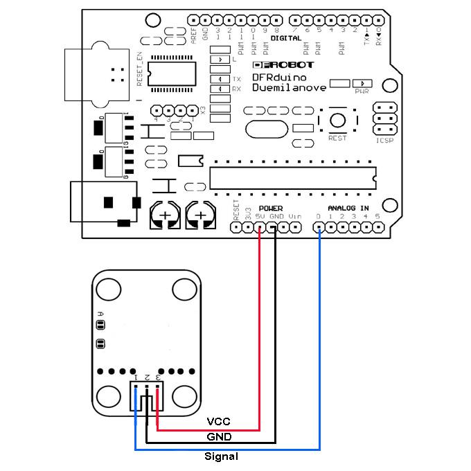 模拟灰度传感器连接示意图