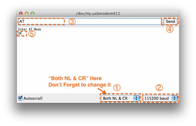 Fig1: 输入AT指令,记得更改为Both NL & CR