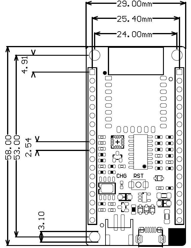 Fig1: FireBeetle Board-ESP8266V2.0主板尺寸图