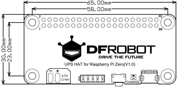 IMG1: UPS HAT for Raspberry Pi Zero尺寸图