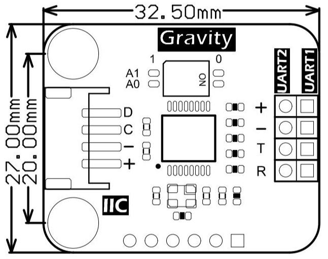 DFR0627 I2C to UART尺寸图