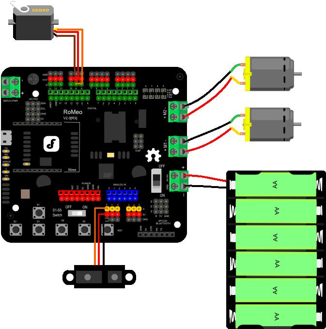 MiniQ智能小车 探索套件连线图