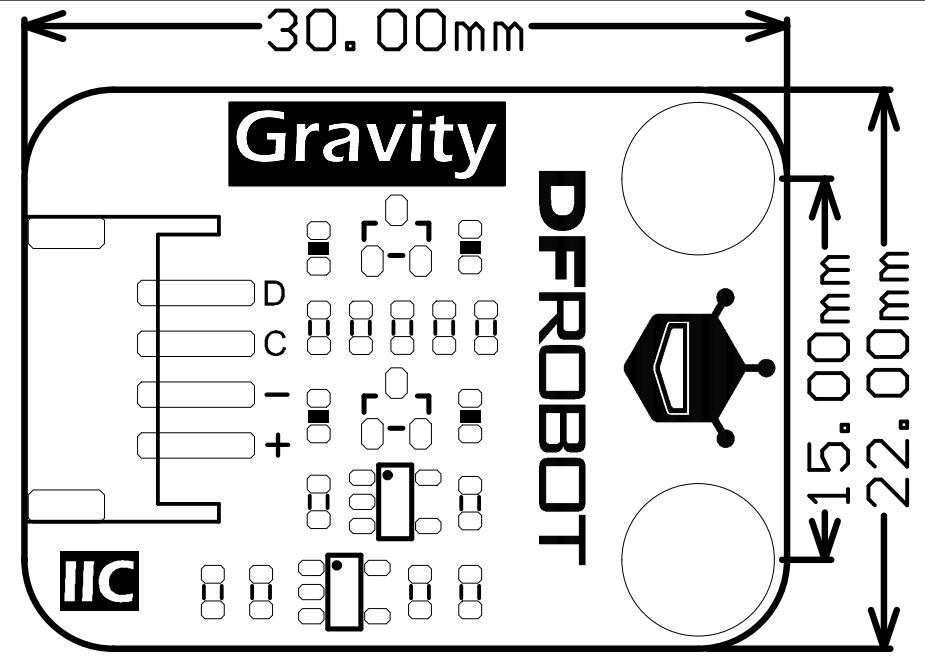 PAJ7620U2 Gesture Sensor 手势识别传感器尺寸图