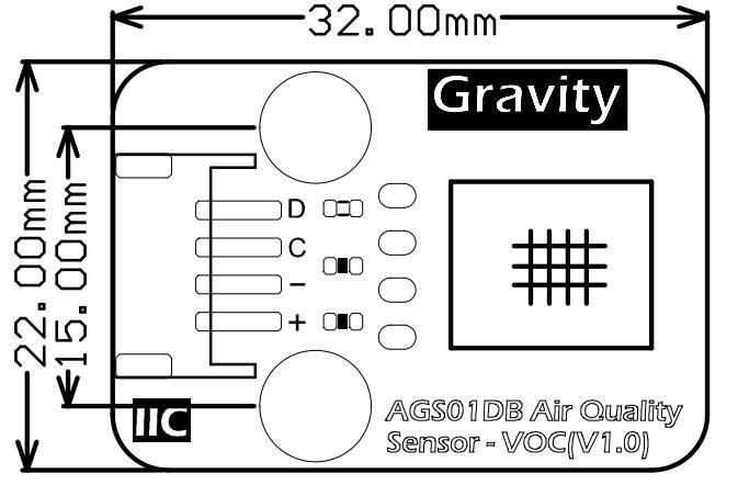 AGS01DB VOC 气体传感器尺寸图